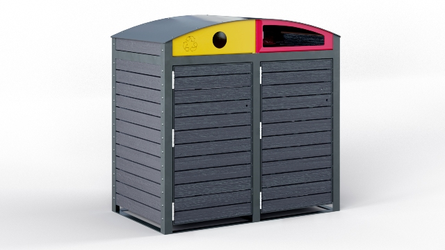 EM212-P-120-C - Staten Twin 120L Wheeled Bin Enclosure Powdercoated Frame with Slate Grey Composite Timber.jpg
