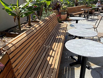 EM001 Mall Seats modified length with Blackbutt timber battens and powdercoated frames, 4.JPG